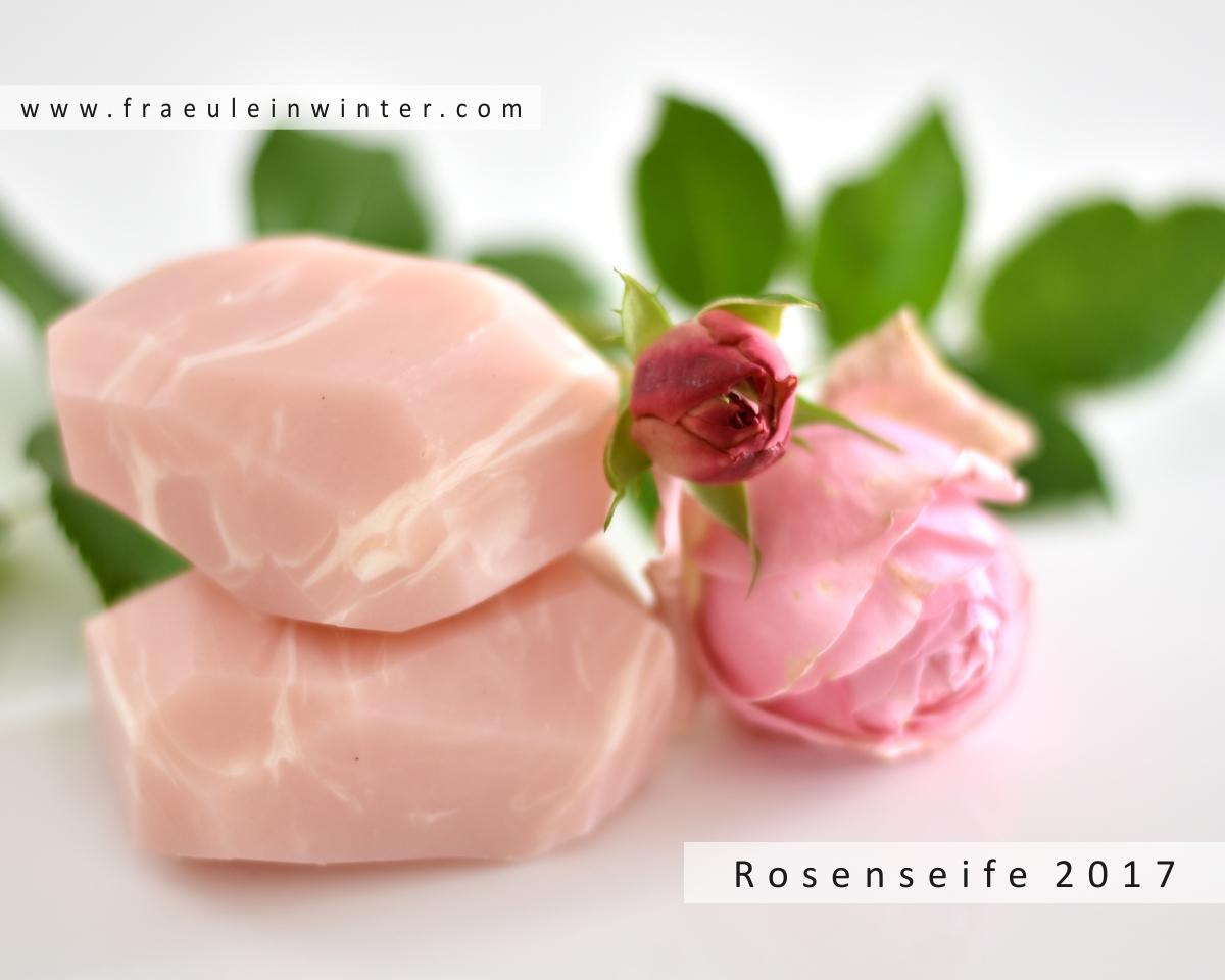 Handgemachte Rosenseife in Rosenquarz-Optik.
